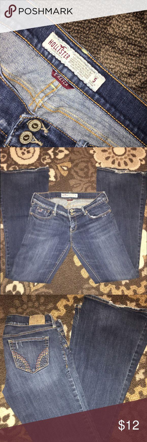 Super flare Hollister jeans Great worn condition Hollister super flare jeans. Size 5. Smoke free/pet free home Hollister Jeans Flare & Wide Leg