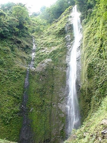 Waterfall on Isla De Ometepe, Nicaragua.  Ometepe is an island formed by two volcanoes rising from Lake Nicaragua.  Its name derives from the Nahuatl words ome and tepetl, meaning two mountains. (V)