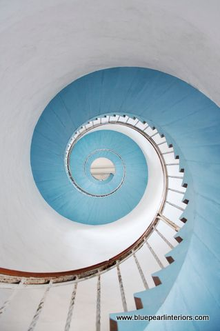 blue painted spiral stairs