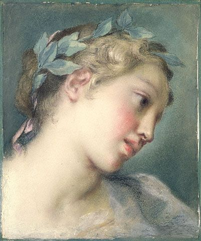 Rosalba Carriera, Italian, about 1725 pastel on laid blue paper