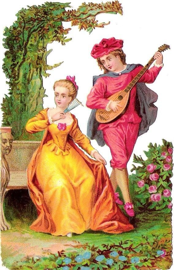 Oblaten Glanzbild scrap die cut chromo Dame Kavalier couple Paar lady  girl park: