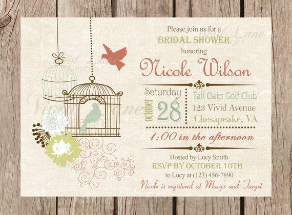 $13.95 Bridal Shower Invitation, Printable - Birdcages, Birds, Flowers, Cages, Lovebirds, Vintage, Rustic Wedding Shower -085