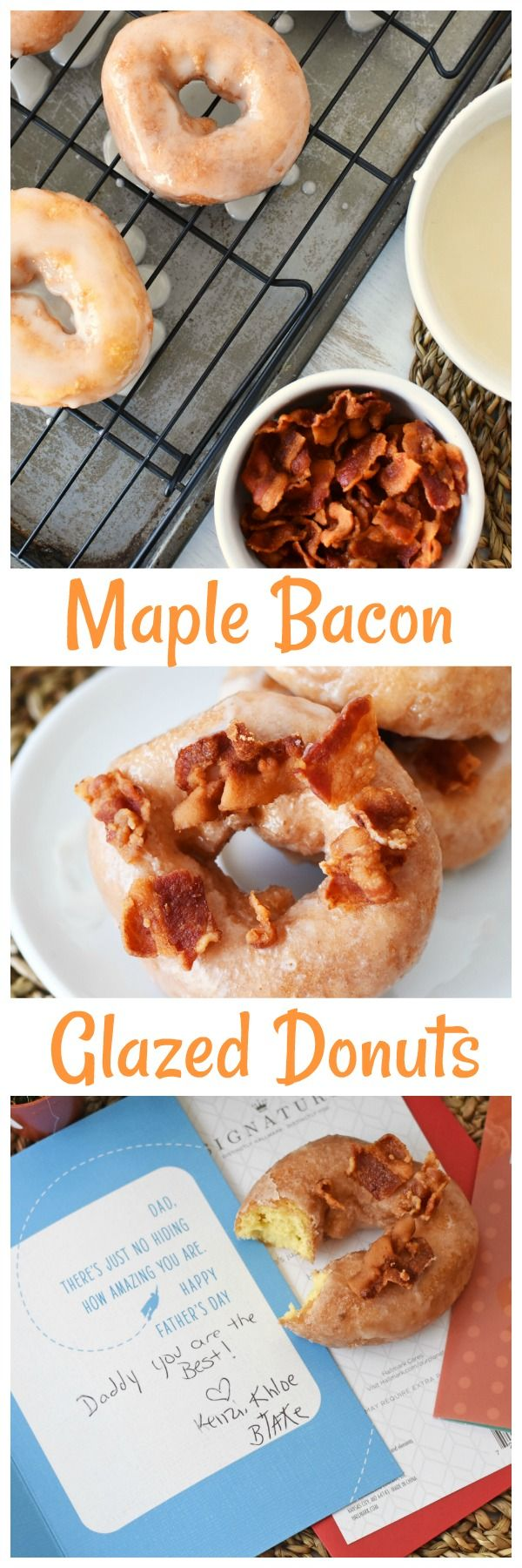 Short Cut Maple Bacon Donuts & An Early Father's Day- Want to make dad some amazing donuts for Father's Day? Check out these 10 minute maple bacon glazed donuts! Plus get some Father's Day Card ideas from #HallmarkAtWalgreens #AD via @savvysavingcoup