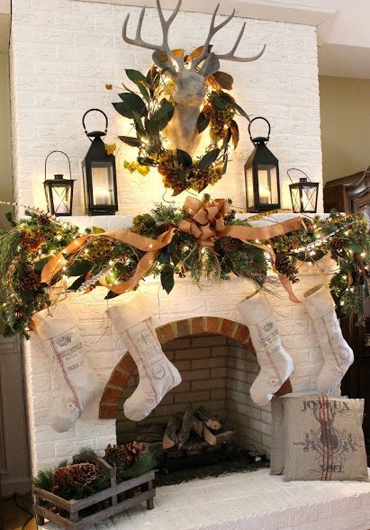 Rustic country Christmas mantle sort of like the lanterns for a simpler, quicker, easier style.: