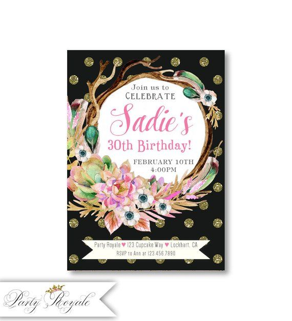 Floral 30th Birthday Invitations For Her Party Women Printable Or Printed Cards