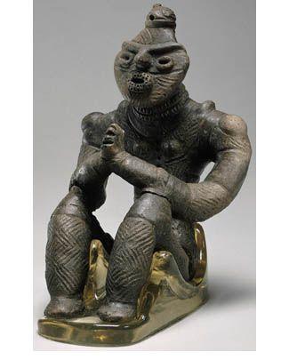 Dogū figurine with palms pressed together, Kazahari I, Aomori prefecture, Japan. 1500–1000 BCE