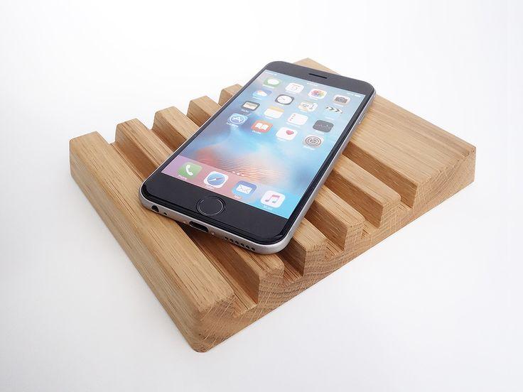 Wood Multiple Charging Station. Wood iPad AIR stand. Wooden iPad Stand. Oak iPad Stand. Wood iPhone Station.