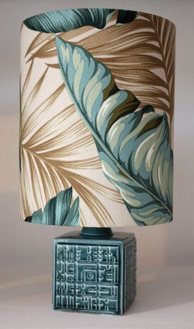 Retro Vintage Lamp with Barkcloth Shade from homeworksdesignstore.com Love the fabric? Buy it at BarkclothHawaii.com we call it Banana Leaf See it here: http://www.barkclothhawaii.com/big/banana_leaf.html#crepe