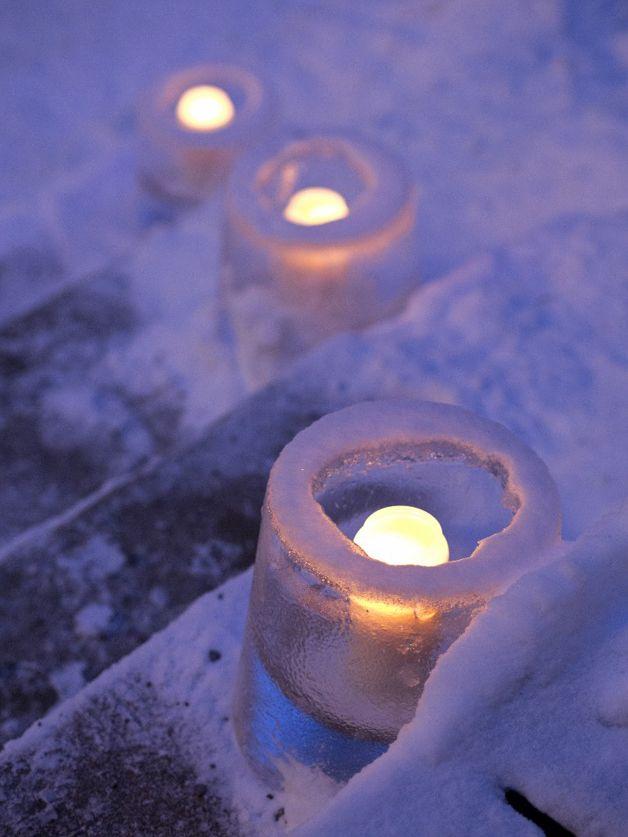 ice lanterns -- Tanja & Henkka   A real Finnish winter wedding on Best Day Ever