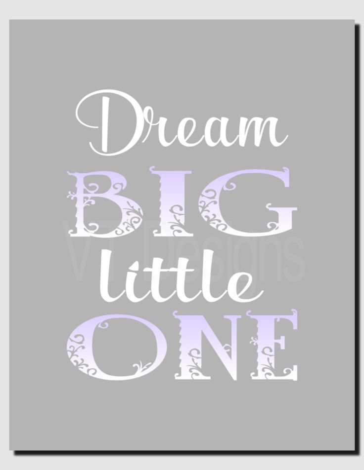 Dream Big Little One, Baby Girl Nursery Decor, Kids Wall Art, Purple Gray, Toddler Room Decor, Children's Room, Print or Canvas by vtdesigns on Etsy