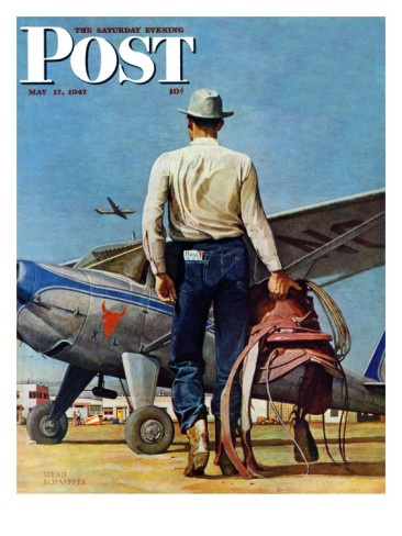 """Flying Cowboy,"" Saturday Evening Post Cover, May 17, 1947 Giclee Print by Mead Schaeffer from AllPosters.com"
