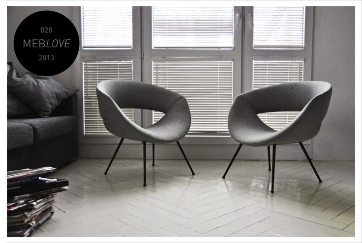 meblove 028, 029    vintage design grey armchairs