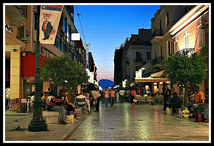 Agiou Nikolaou street - pedestrian area in Patras, Greece.