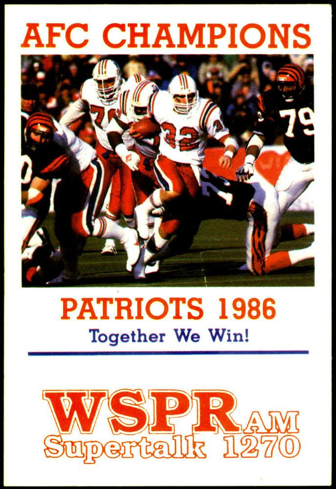 1986 new england patriots wspr am radio pocket schedule afc champs free shipping from $2.89