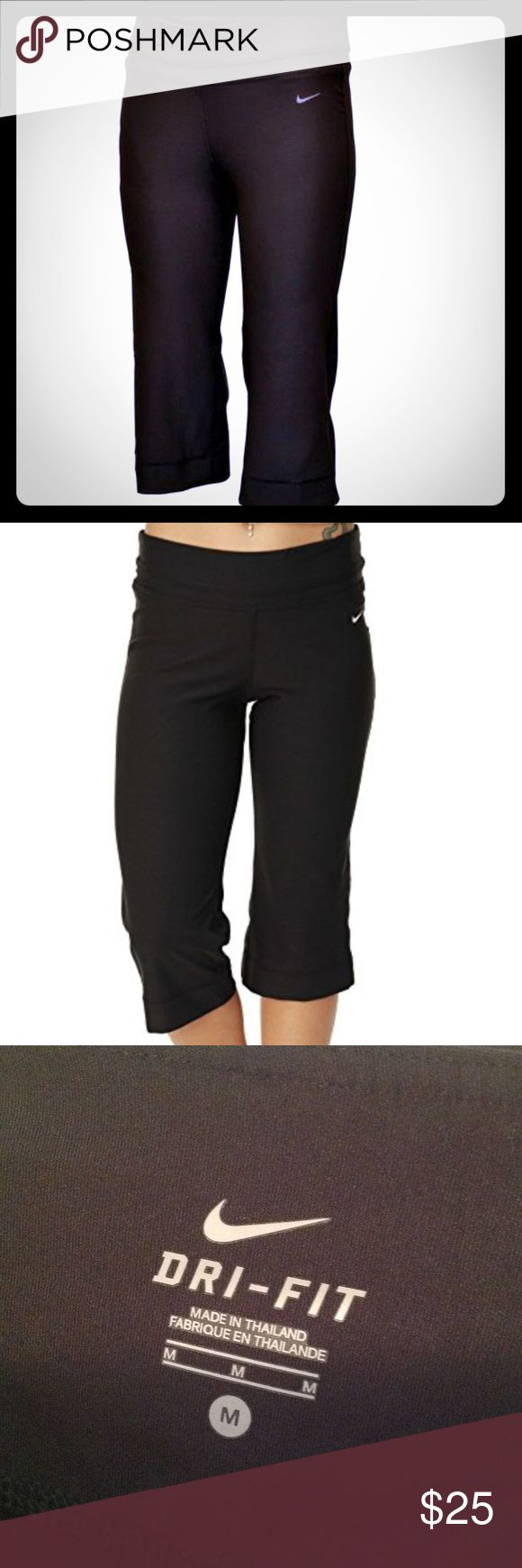 Nike Capri leggings Step into the now with the sleek style and performance of the Nike Regular FIT Low Rise Women's Capris, featuring breathable Dri-FIT for cool-wearing comfort and a straight, fitted leg with a slight flair at the bottom hem for a flattering, feminine fit. Triangle gusset A wide waistband delivers fit with built-in key pocket inner waist band Dri-FIT 88% polyester/12% spandex. Only worn once, like brand new!!! Nike Pants Capris
