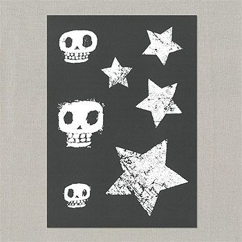 29142 Stencil skabelon star & scull 210x290mm
