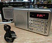 Radio batería Sami. FM, antena telescópica, batería recargable incluída, sintonía digital, memorias de emisoras, MP3, USB, microsd, grabador de voz. PVP 28 euros