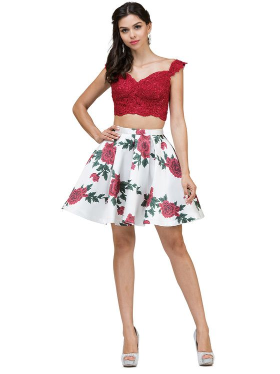 e63980319a Dancing Queen - 2031 Two-Piece Floral Print Short Dress In Red and Print