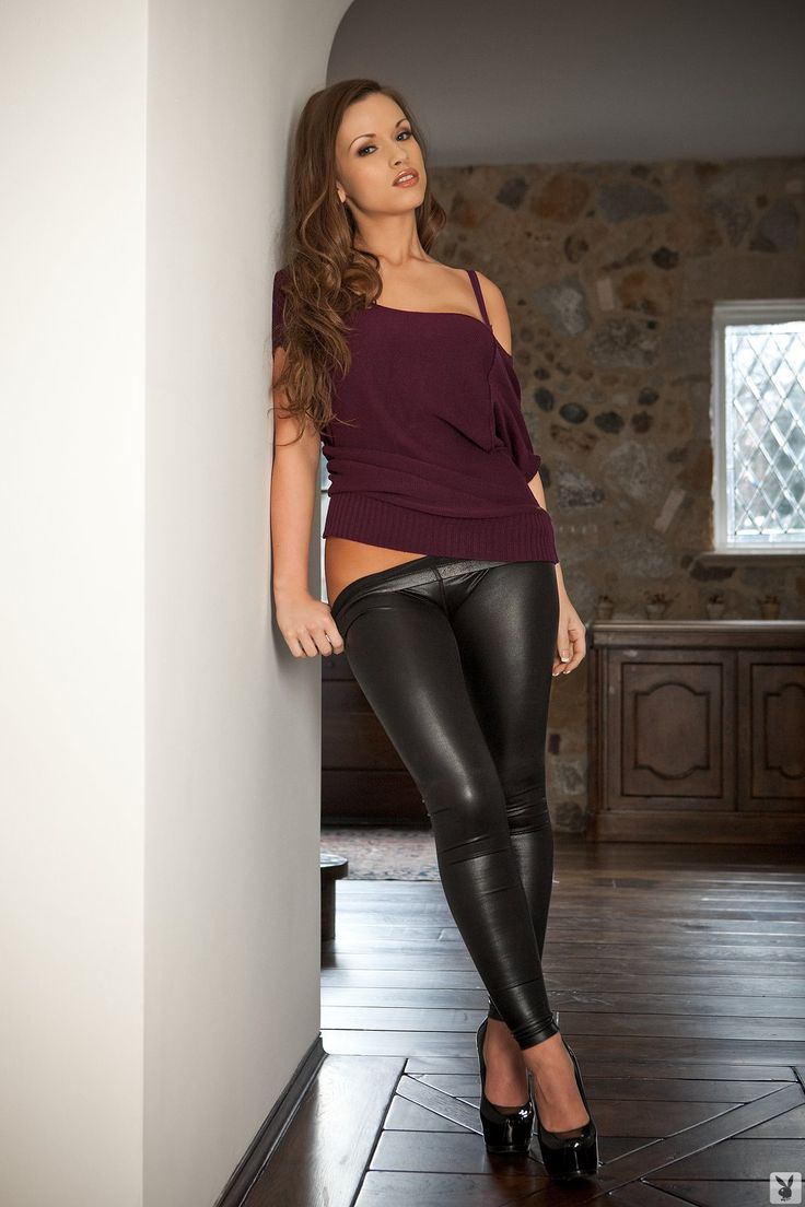 Kayleigh Elizabeth Models Leather Leggings Leggings