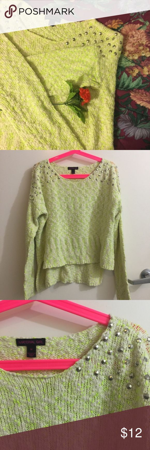 Material Girl Neon High Low Studded Sweater Size medium Material Girl from Macy's scoop neck sweater.  Features high low hi lo design. White with neon green threads, and studding studs spikes detailing on shoulders. The perfect dressy casual sweater, and very unique. No flaws. Material Girl Sweaters Crew & Scoop Necks