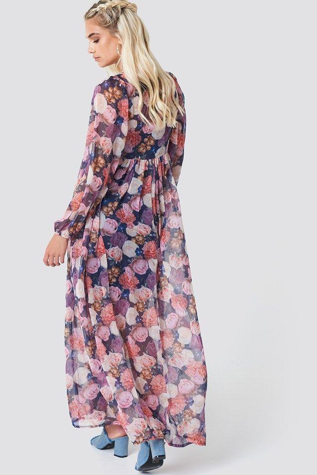 cfcba64007 Sukienka maxi z bufiastym rękawem Oil Flowers