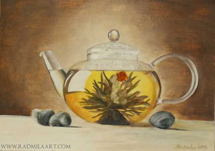 "Oil painting ""Green tea"", 35*25 cm. Artist - Radmila Filimonova"