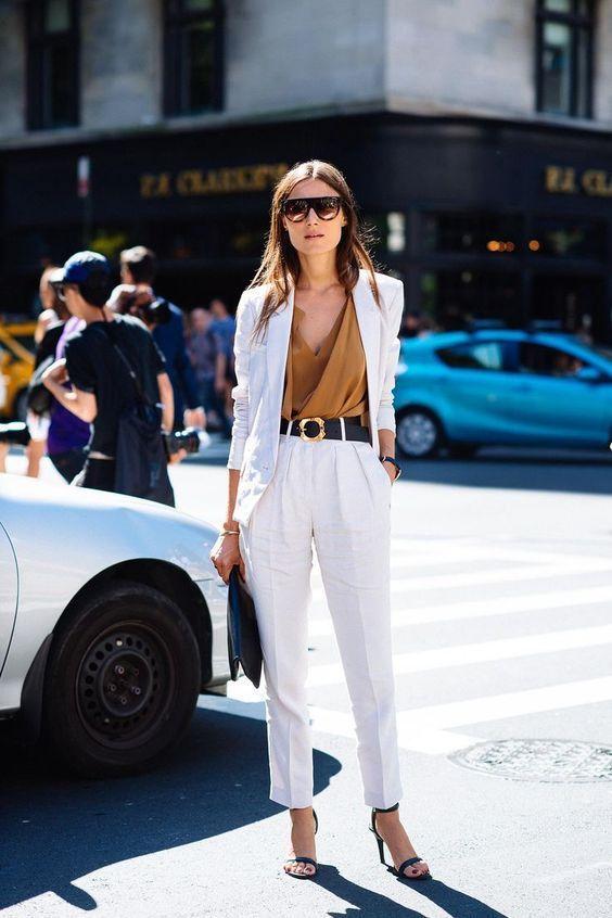 Similar brown/bronze top + white pants suit + black sandals
