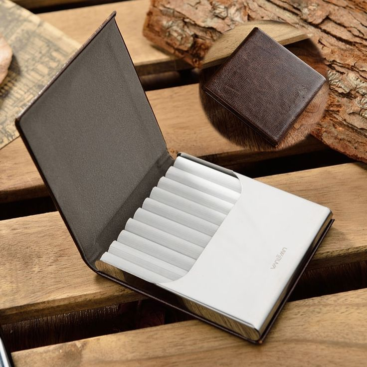 Smoker Genuine Leather 10pcs Cigarette Case With Gift Box Classical cigarette box Smoking Tobacco case for men CB014