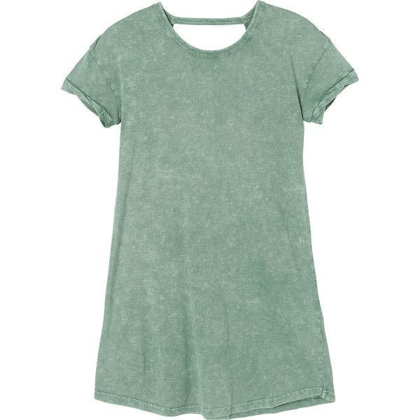 RVCA Women's Topped Off T-Shirt Dress ($45) ❤ liked on Polyvore featuring dresses, vestidos, olive moss, green dress, tee dress, olive green t shirt dress, olive t shirt dress and short-sleeve dresses