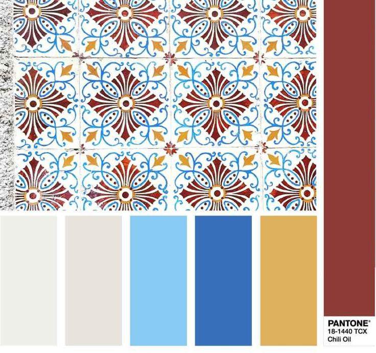 PANTONE 18-1440 Chili Oil - Масло чили -цветовая палитра комбинация цветов