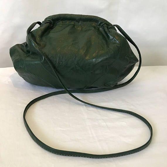 Emerald Green Vintage Leather Shoulder Bag Sack Style Retro