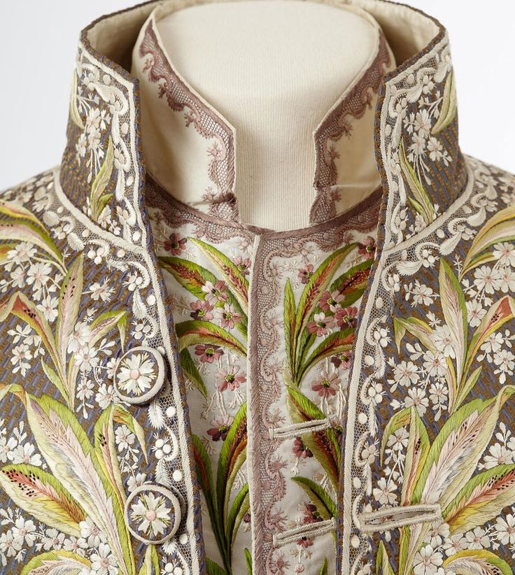 """This magnificent embroidered jacket belonged to Marquis François de Beauharnais (1756-1846). This garment is an example if the 'French-style jacket,' reminiscent of the court of Versailles, that men were required to wear by First Empire etiquette."""""""