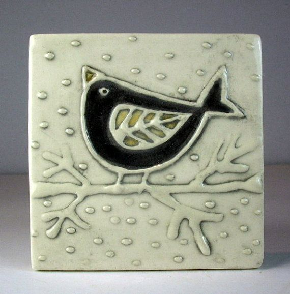 Black bird tile ceramique  - the black dusted around raised bits--- I think I could do this with hot glue... :)