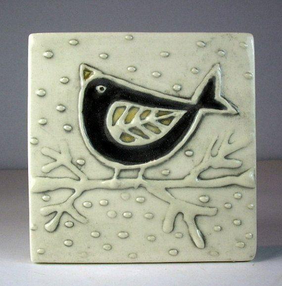 Black bird tile 4''x 4''
