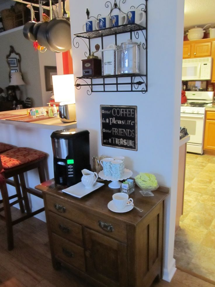 My pinterest inspired home coffee station home coffee for Home bar station