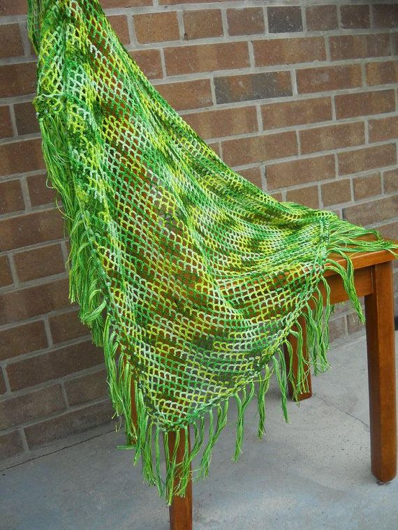 Crochet cotton shawl decorated with beads.