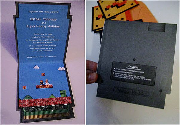 Always on the look out for unique wedding ideas, I was seriously giddy to come across these Super Mario Brothers themed wedding invitations by Larry T…