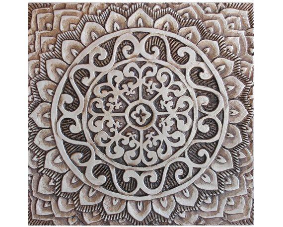 Mandala ceramic art // Ceramic tile // Decorative tile // Ceramic art // Hand painted tile // Mandala #1 silver // 30cm