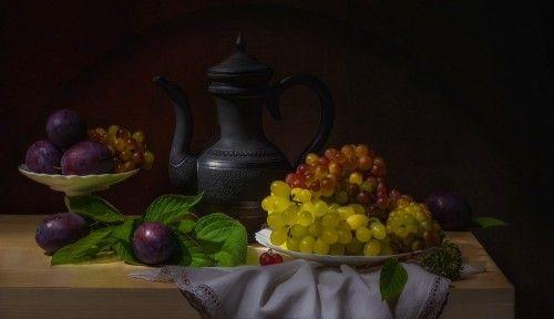 Still-life with plums by Svetlana L