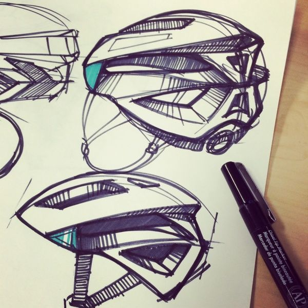 Bike helmet industrial design product sketches by Chris Grill