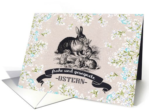 Frohe Ostern. Vintage Rabbit Family design personalized Easter Greeting Cards in German. at greetingcarduniverse.com