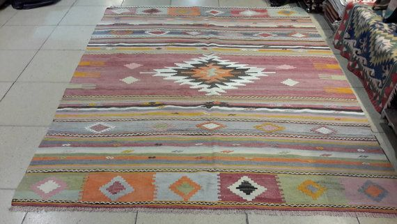 8.5 by 6.4 feet. Turkish vintage kilim. Kilim by turkishrugman