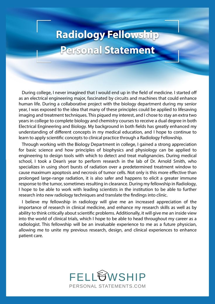 radiology personal statement Learn how we can help you to achieve the very best personal statement for your diagnostic and interventional radiology application.