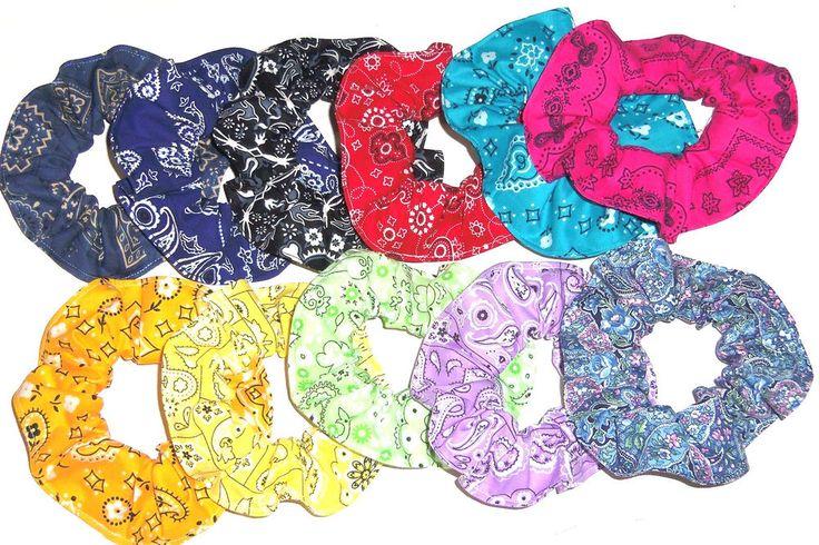 Hair Scrunchie Bandana Western Print Paisley Red Blue Pink Scrunchies by Sherry #ScrunchiesbySherry