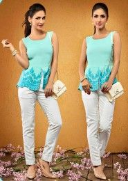 Casual Wear  Crepe Sky Blue Embroidered Work Top