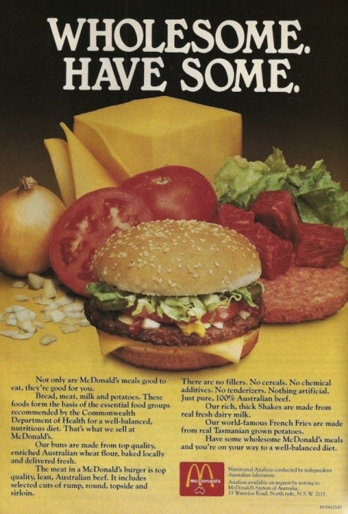 Retro advertising for McDonalds....the ad says their meals are good for you! hahaha those crazy kids in marketing!!!