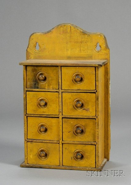 Yellow Painted Pine Eight Drawer Wall Mounted Spice Cabinet