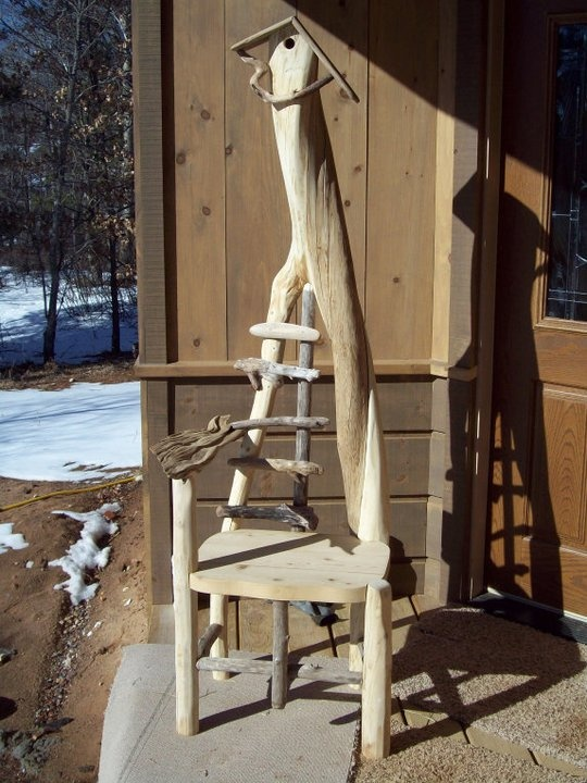 """""""Symmetrically Challenged"""" driftwood birdhouse rustic chair"""