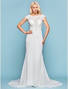 Lanting+Bride®+Trumpet+/+Mermaid+Petite+/+Plus+Sizes+Wedding+Dress+-+Chic+&+Modern+/+Elegant+&+Luxurious+Vintage+Inspired+/+Open+Back+–+USD+$+370.00