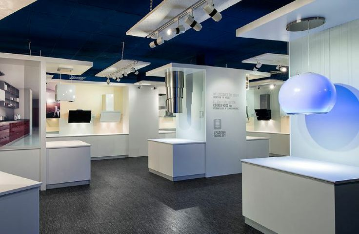 Overview of new Faber showroom at Fabriano (headquarter, Italy). Close-up on Arkea and Pareo hoods, the f-light generation hoods.